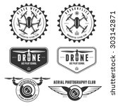 vector set of drone flying club ... | Shutterstock .eps vector #303142871