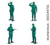 four man on a green toy soldier ... | Shutterstock . vector #303144731
