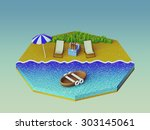 isometric camping on the beach   Shutterstock . vector #303145061