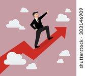 businessman standing on a... | Shutterstock .eps vector #303146909