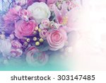 sweet color fabric roses in... | Shutterstock . vector #303147485