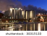 Paper Mill By Winter Night...