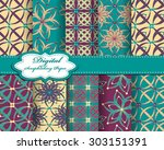 set of vector abstract flower...   Shutterstock .eps vector #303151391