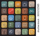 hobby line flat icons with long ... | Shutterstock .eps vector #303152585