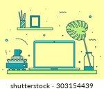 modern designer work space ... | Shutterstock .eps vector #303154439