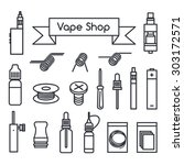 vector icons for vape shop  e... | Shutterstock .eps vector #303172571
