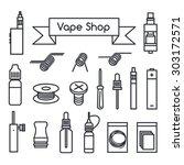vector icons for vape shop  e... | Shutterstock .eps vector #303172571