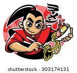 japan man eats the ramen noodle ... | Shutterstock .eps vector #303174131