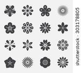 flower icons set. | Shutterstock .eps vector #303178805