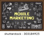 doodles about mobile marketing... | Shutterstock .eps vector #303184925