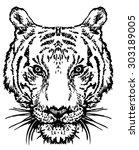 hand drawn sketch of  tiger head | Shutterstock .eps vector #303189005