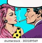 smoking couple in pop art style.... | Shutterstock . vector #303189569