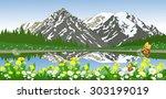 vector landscape of mountains... | Shutterstock .eps vector #303199019
