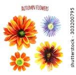 Watercolor Autumn Flower Set....