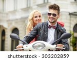 fun ride. beautiful young... | Shutterstock . vector #303202859