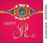 happy rakhi greeting card for... | Shutterstock . vector #303203381