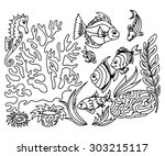 tropical fish hand drawn design ... | Shutterstock .eps vector #303215117
