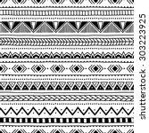 black and white seamless ethnic ... | Shutterstock .eps vector #303223925