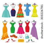 woman dresses on a hanger and... | Shutterstock .eps vector #303226781