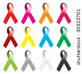 collection of awareness ribbons ... | Shutterstock .eps vector #30323701