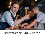 beer evening in a pub. portrait ... | Shutterstock . vector #303249755