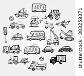 baby cars set. funny baby toys. ... | Shutterstock .eps vector #303258371