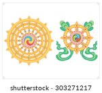 dharma wheel  dharmachakra... | Shutterstock .eps vector #303271217