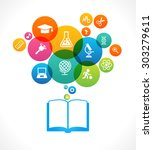 open books and icons of science.... | Shutterstock .eps vector #303279611