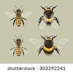 bee and bumblebee | Shutterstock .eps vector #303292241