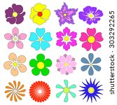 flowers set with different... | Shutterstock . vector #303292265