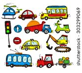 baby cars set. funny baby toys. ... | Shutterstock .eps vector #303299069