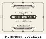 vintage ornament greeting card...   Shutterstock .eps vector #303321881