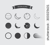 collection of moon icons | Shutterstock .eps vector #303325631