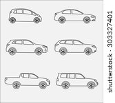cars outline icon set.... | Shutterstock . vector #303327401