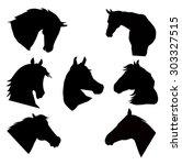 horse heads silhouette vector...   Shutterstock .eps vector #303327515