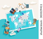 summer travel. flat design. | Shutterstock .eps vector #303329411