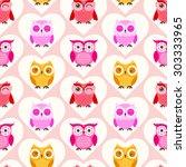 seamless owls cartoon...   Shutterstock .eps vector #303333965