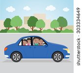 cheerful family driving in a... | Shutterstock .eps vector #303334649