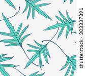 pattern branch with leaves | Shutterstock . vector #303337391