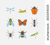 insects icons set. collection... | Shutterstock .eps vector #303354035