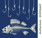 fish skeleton and fishhook | Shutterstock .eps vector #303356669