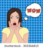 wow beautiful woman face with... | Shutterstock .eps vector #303366815