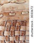 weathered baseball glove texture - stock photo