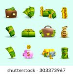 cash payment methods flat icons ... | Shutterstock .eps vector #303373967