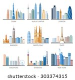 famous capitals and cities... | Shutterstock .eps vector #303374315