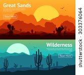desert horizontal banner set... | Shutterstock .eps vector #303376064