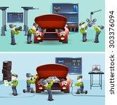 auto service garage fast ... | Shutterstock .eps vector #303376094