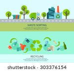 waste sorting and recycling...   Shutterstock .eps vector #303376154