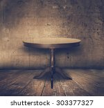 Antique Table In Old Grunge...