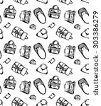 seamless black and white... | Shutterstock .eps vector #303386279